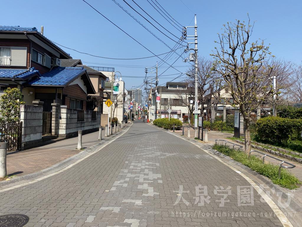 富士街道の「石神井団地前」の信号から石神井団地の真ん中の通りを北に進みます
